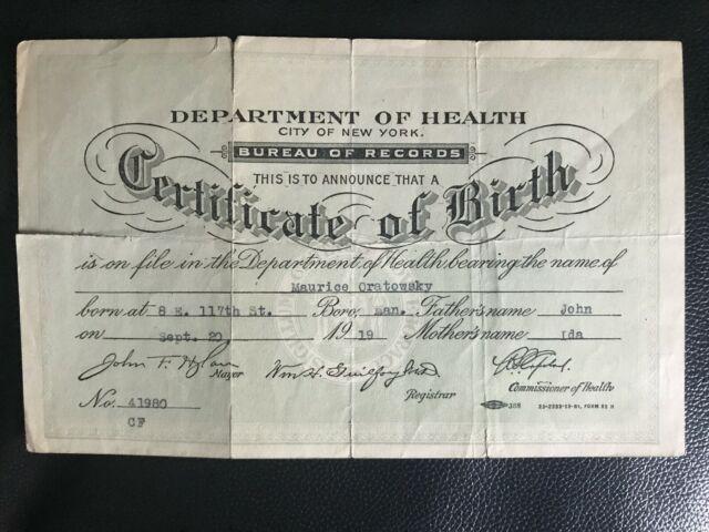 1919 New York City, Department of Health, Birth ...