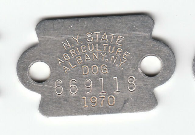 1970 ALBANY NEW YORK STATE AGRICULTURE DOG LICENSE TAG ...