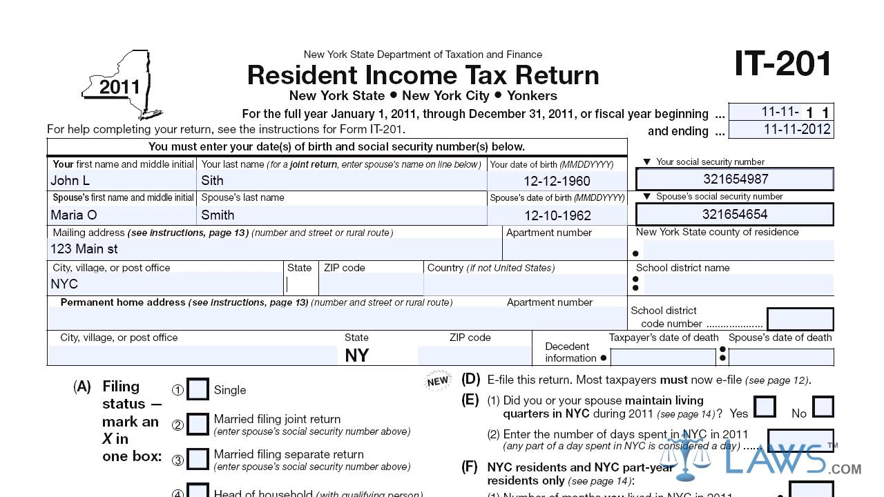 Form IT 201 Resident Income Tax Return