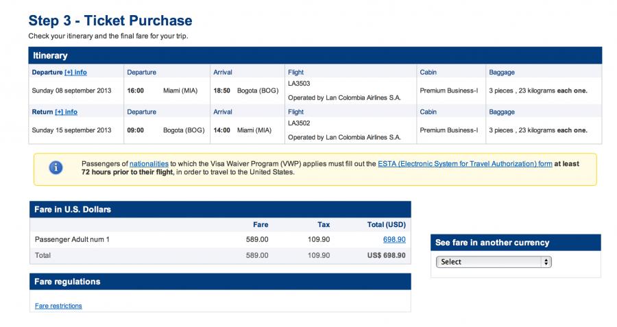 LAN Premium Business Class Sale To South America, Miami To ...