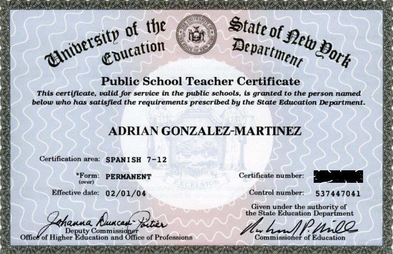 new york state permanent teaching certification in spanish