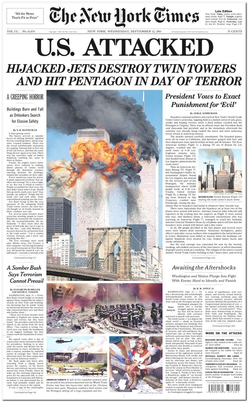 New York Times Newspaper Front Page Today