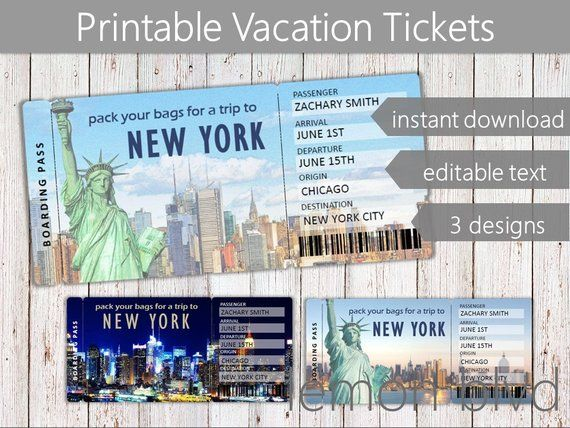 Surprise New York Trip Ticket Vacation Tickets Instant ...