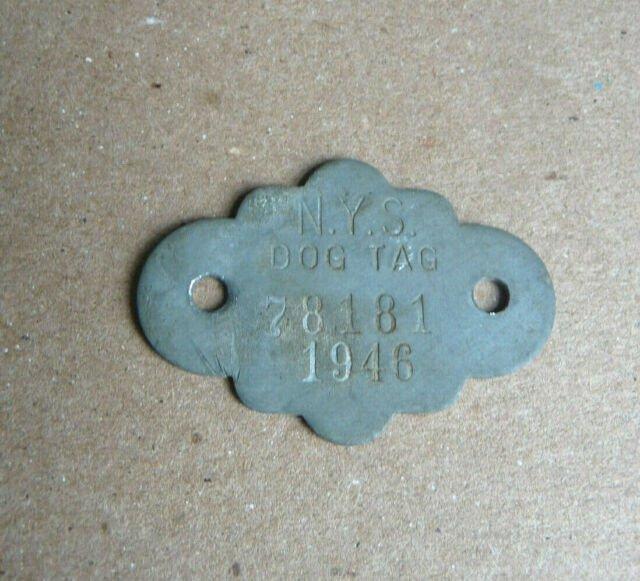 Vintage NYS Dog License Tag New York State 1946 Dog Tag