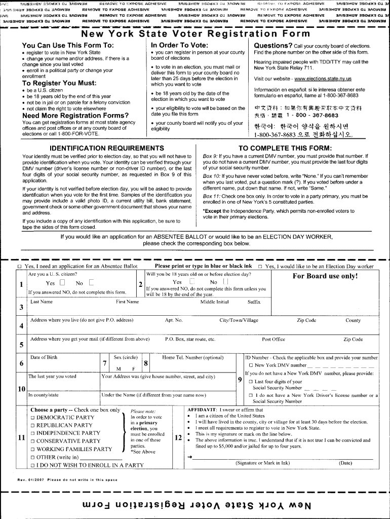 You Can Use This Form To Register To Vote In New York ...